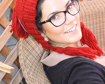 Red Tassel hat knitted