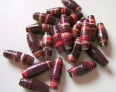 Brown and Orange Large Hole Paper Beads