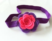 Bright pink and purple duet felt flower headband - baby headband