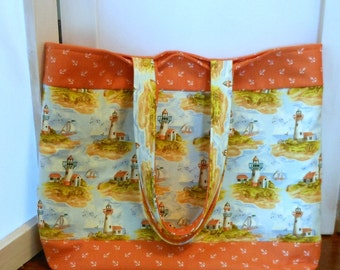 Large Tote Bag Nautical Themed Lighthouses and Sailboats