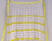 Yellow and White Crocheted Hostess Apron - Circa 1950s