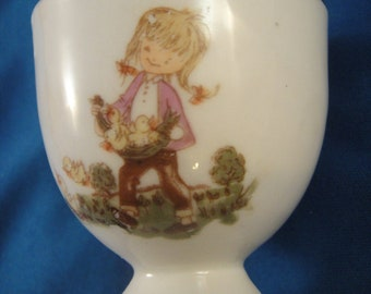 Egg Cup Ceramic Girl with Chicks