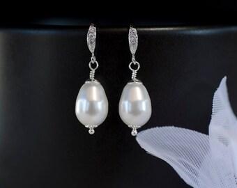 Bridal Pearl Earrings, White/Ivory Pear Shape Swarovski Single Pearl Earrings, Pearl Wedding Earrings, Wedding Pearl Jewelry