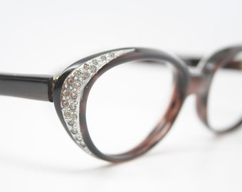 Marble rhinestone cat eye glasses vintage 1950s eyewear cateye frames