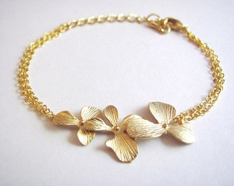 Gold Triple Orchid Bracelet- elegant bridal jewelry, bridesmaids gifts, available in silver.