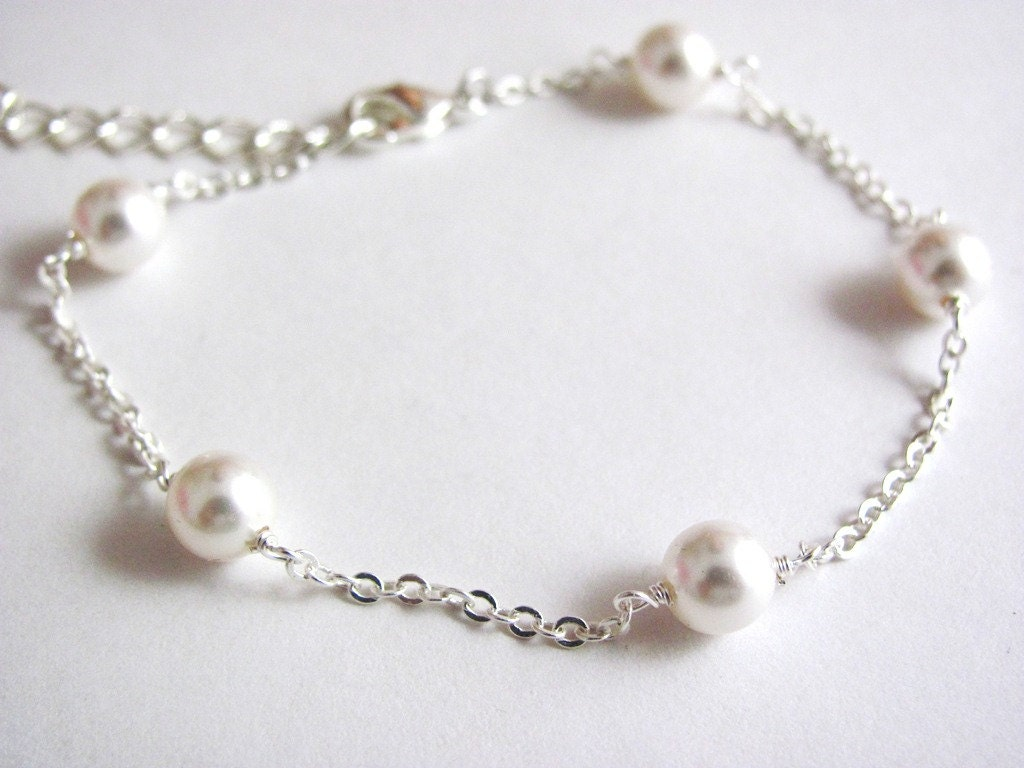 Delicate Silver Handwrapped Pearl Bracelet/Anklet by ACutieChick