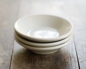 3 Vintage White Ironstone Nappy Dishes - Small Shallow Bowls