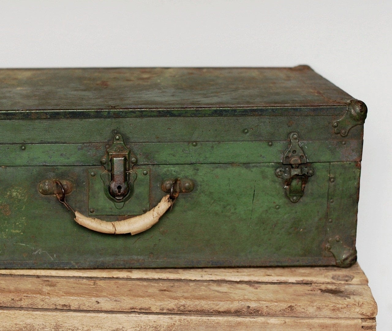 Rustic Antique Green Trunk Metal Over Wood Vintage Luggage