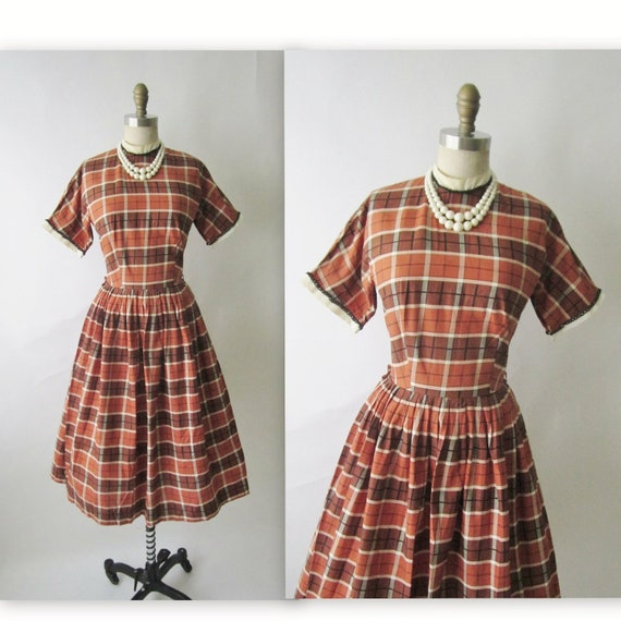 50's Autumn Dress // Vintage 1950's Brown Black Plaid Full Casual Mad Men Dress S