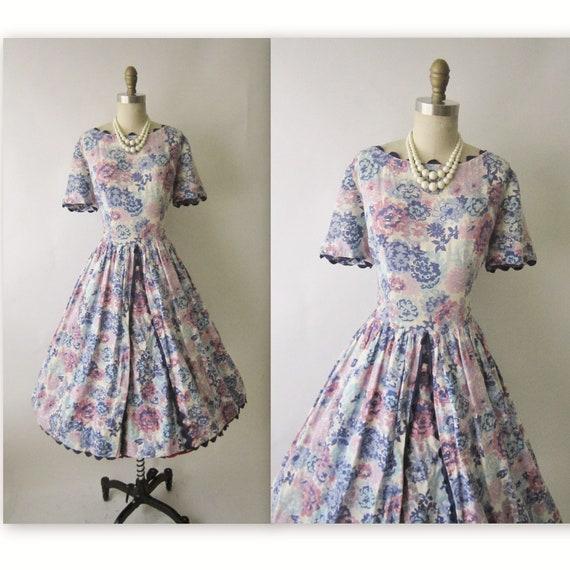 50's Floral Dress // Vintage 1950's Floral Print Garden Party Mad Men Summer Day Dress L