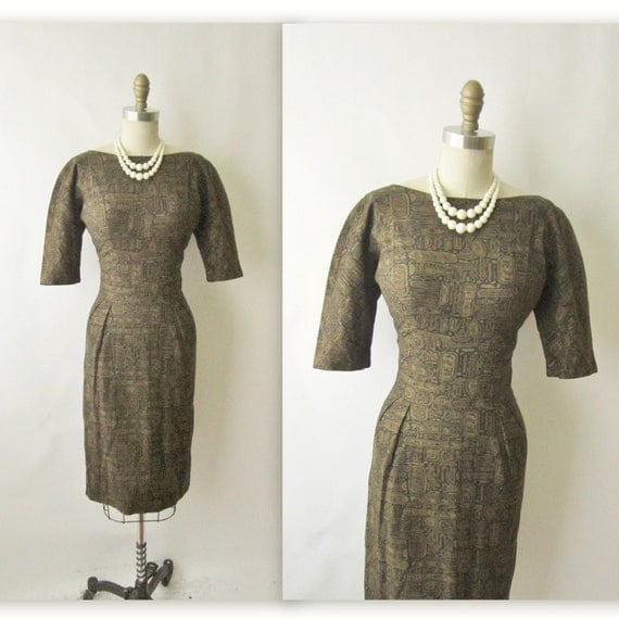 50's Wiggle Dress // Vintage 1950's Joan Holloway Cotton Fitted Casual Mad Men Wiggle Dress M