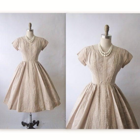 50's Cocktail Dress // Vintage 1950's Mocha Taffeta Lace Cocktail Party Full Dress XS