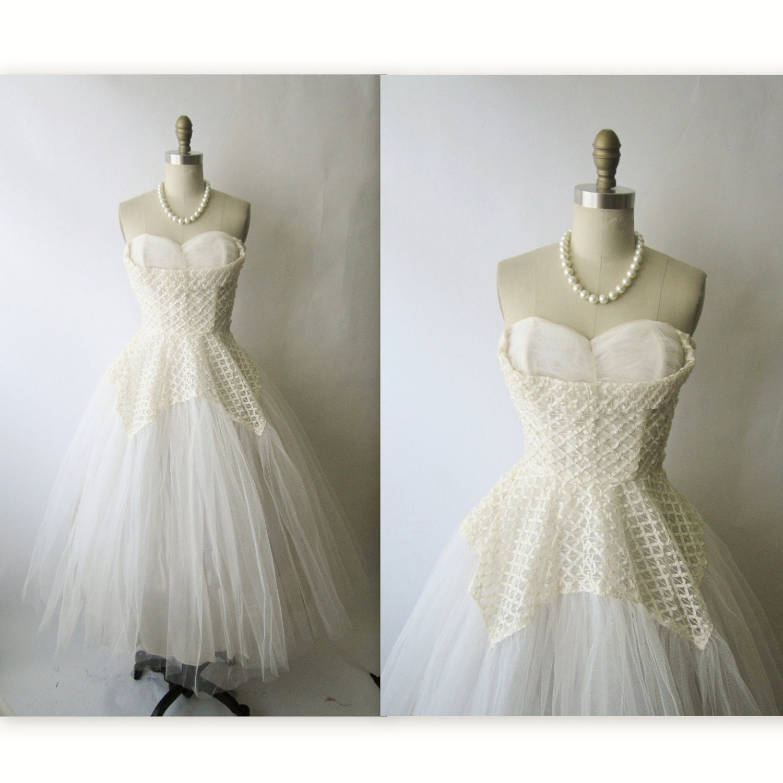 50 s Wedding Dress Vintage 1950 s White Tulle