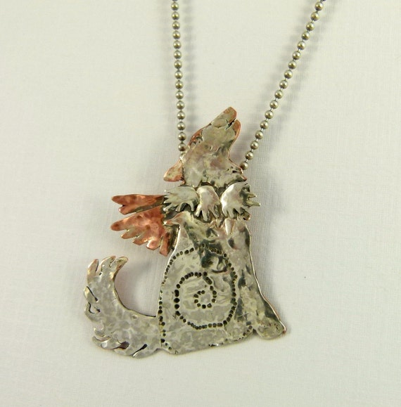 Angel Rylie Was Rescued - Repurposed Sterling Silver And Copper - Art Jewelry Pendant - 822