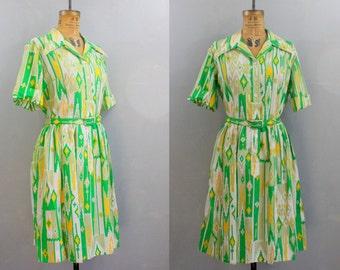50s shirtdress l xl  / southwestern print dress / 1950s green dress