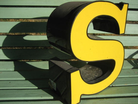 Reclaimed Industrial Metal Advertising Sign Letter - Large Yellow & Black Capital Initial 'S'