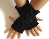 Fingerless Gloves Wrist Warmers in Black Sparkle Handknit