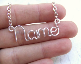 Name Necklace, Wire Name, Personalized Name, Custom Made up to 9 letters, Silver Wire Name, Bridesmaids Necklace, Personalized Name Gift