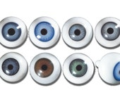 Antique Blown Glass Doll Eyes size 18mm - One Pair