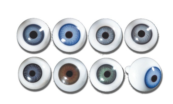 12mm Antique Blown Glass Doll Eyes- One Pair