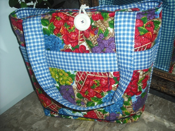 CLEARANCE- Fruit Basket/ Plaid- Quilted-Large-Cotton-Market-Sewing-Multi Use-Tote Bag, w/ 6-Quilted Pockets and Straps