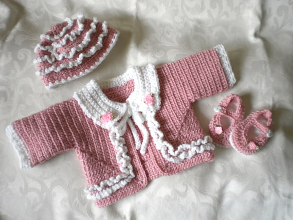 Pink with Ruffles Baby Sweater Set