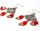 Red Swarovski Crystal Silver Dangle Earrings, Large Tear Drop Crystals