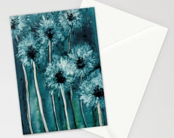 Dandelions Art Card - Floral Botanical Watercolor Painting