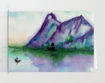 Art Card - Asian Fishing Boat Seascape Sumi-e