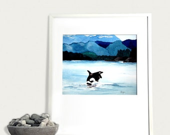 Watercolor Painting - Orca Art Print - Killer Whale Wildlife Seascape