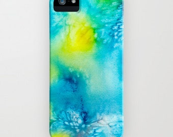 iPhone Case Abstract Watercolor Painting - Yellow Aqua - Designer iPhone Samsung Case