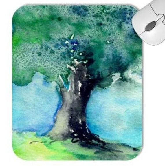 Mousepad - Green Oak Tree Landscape Watercolor Painting - Reproduction Art for Home or Office