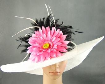 Wedding Hat Derby Hat Fascinator Dress Hat Wide Brim Hat Womens Dress Wedding Tea Party Ascot Church Kentucky Derby