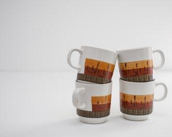 Set of Mid Century Coffee Mugs