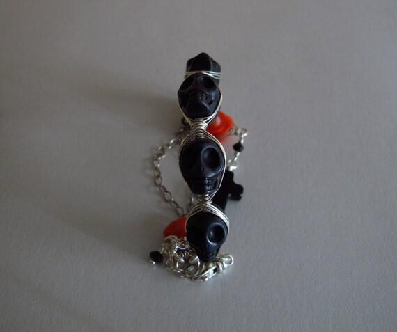 Day of the Dead Bracelet Sugar Skull Jewelry Jet Black Salmon Orange Handcrafted Sterling Silver Charm Bracelet