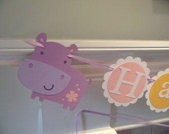 HIPPO Happy Birthday banner,  girl birthday. first birthday. hippo decorations,hippo birthday.hippo or safari theme