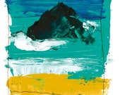 Black Rock Wild Ocean 'Cornish Rock Painting'. Limited Edition print one of only 25. FREE postage