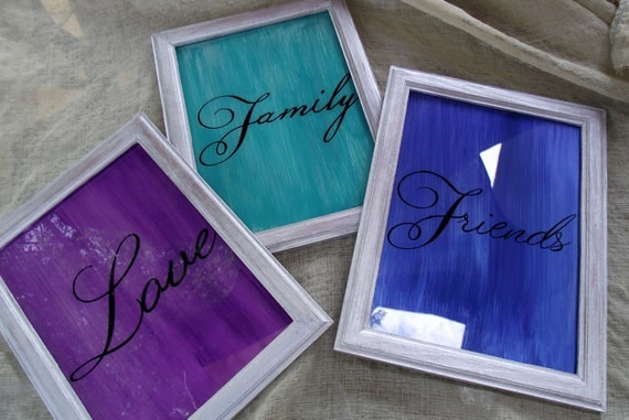 LOVE POP ART  Family Friends Silver Framed Purple Blue Teal Wall Hanging 9 x 7 Back Painted Glass