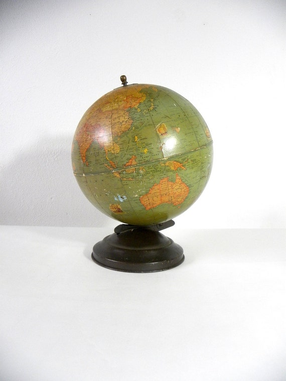 "RESERVED for Morgan-1936 Pre-WWII 9"" Rand McNally World Globe"