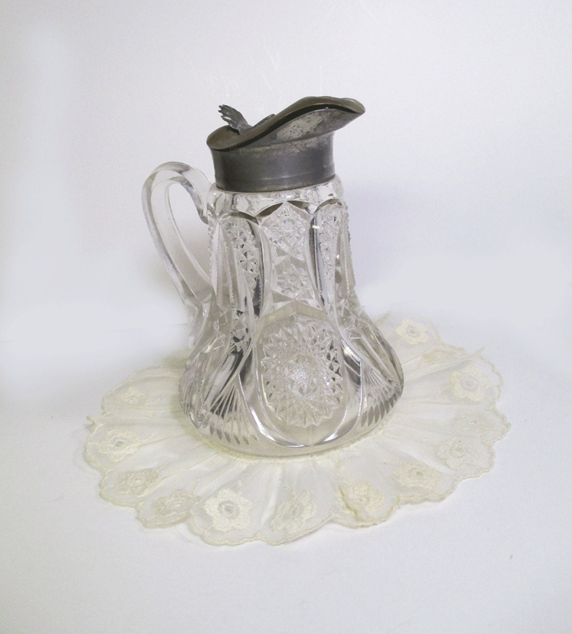 Antique Cut Glass Syrup Pitcher with Brass Pewter Lid
