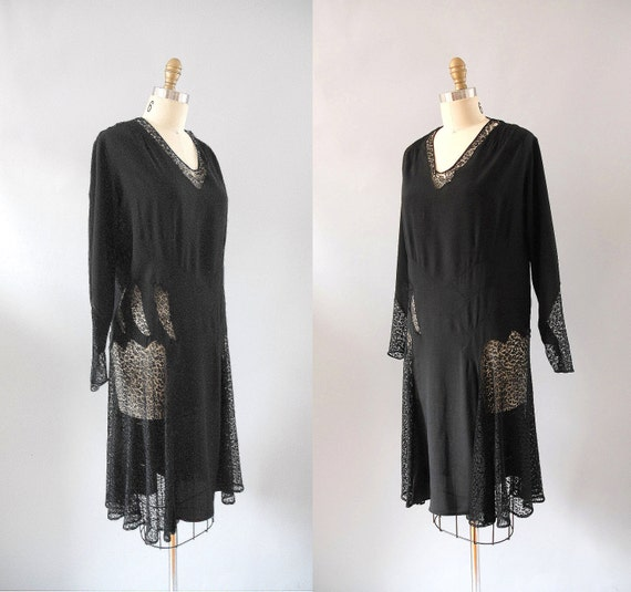r e s e r v e d 1920s Dress / 20s Silk and Lace Dress / Flapper