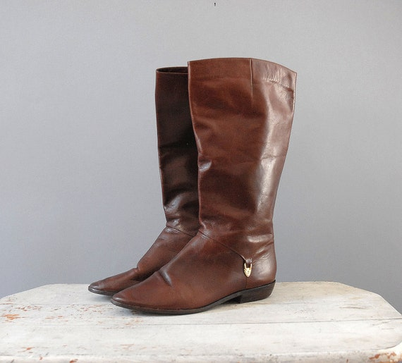 Leather Boots  / Aigner Tall Boots / Size 8.5