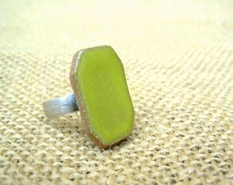 Adjustable Rectangle Pottery Ring- Bright Pear