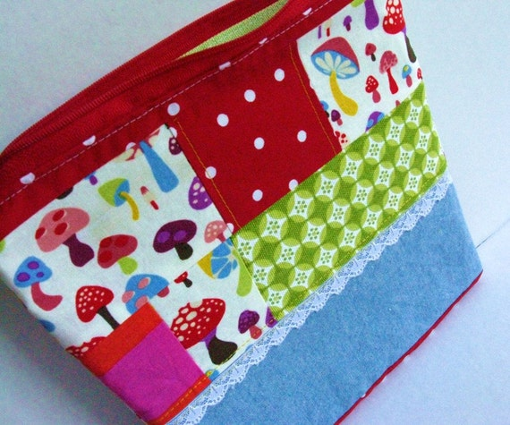 Zip Pouch, Patchwork Pouch, Scrappy Pouch