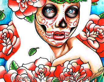Tattoo Roses and Sugar Skull Girl Fine Art Home Decor 5x7, 8x10, or 11x14 in Art Print - Don't Hold Your Breath - Day of The Dead Girl