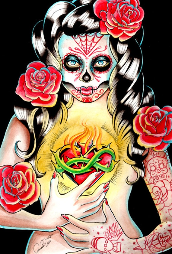 Tattoo Art Signed Print Sacred Heart Day of the Dead Dia De Los Muertos Sugar Skull Pin Up Girl 5x7, 8x10, or 9x14 in Art Print - Sacred