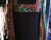 GORGEOUS Vintage Hippie Psychedelic Bloused Sleeve Maxi Dress S-L