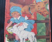 Antique Linen Childrens Book - Down on the Farm Picture Book