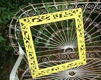 SQUARE Mirror ,Yellow Wall Mirror,  Hollywood Regency, Nursery, Signs,Bathroom, etc... 26 x 19