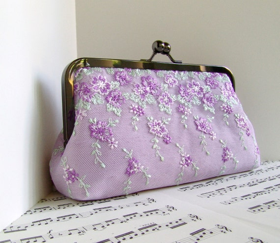 Pale purple silk and lace clutch purse. Lilac clutch bag. Lace fashion